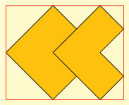 <math> \begin{tikzpicture}[background rectangle/.style={draw=none, fill=yellow!25}, show background rectangle, ] \begin{scope}[local bounding box=figure, every path/.style={fill=yellow!50!orange, rotate=-45}, ] \draw[] (0,0) rectangle (2,2); \draw[] (1,1) -- (3,1) -- (3,2) -- (2,2) -- (2,3) -- (1,3) --cycle; \end{scope}  \draw[red]  (figure.south west) rectangle (figure.north east)  ; \end{tikzpicture} </math>