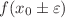<math>f(x_0\pm\varepsilon)</math>