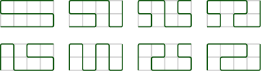 <math>\begin{tikzpicture}[line width=0.2ex,scale=0.4] \draw[lightgray] (0,0) grid (4,2); \draw[rounded corners=0.3ex,black!70!green] (0,0) to (1,0) to (2,0) to (3,0) to (4,0) to (4,1) to (3,1) to (2,1) to (1,1) to (0,1) to (0,2) to (1,2) to (2,2) to (3,2) to (4,2); \end{tikzpicture}\hspace{3ex}\begin{tikzpicture}[line width=0.2ex,scale=0.4] \draw[lightgray] (0,0) grid (4,2); \draw[rounded corners=0.3ex,black!70!green] (0,0) to (1,0) to (2,0) to (2,1) to (1,1) to (0,1) to (0,2) to (1,2) to (2,2) to (3,2) to (3,1) to (3,0) to (4,0) to (4,1) to (4,2); \end{tikzpicture}\hspace{3ex}\begin{tikzpicture}[line width=0.2ex,scale=0.4] \draw[lightgray] (0,0) grid (4,2); \draw[rounded corners=0.3ex,black!70!green] (0,0) to (1,0) to (1,1) to (0,1) to (0,2) to (1,2) to (2,2) to (2,1) to (2,0) to (3,0) to (4,0) to (4,1) to (3,1) to (3,2) to (4,2); \end{tikzpicture}\hspace{3ex}\begin{tikzpicture}[line width=0.2ex,scale=0.4] \draw[lightgray] (0,0) grid (4,2); \draw[rounded corners=0.3ex,black!70!green] (0,0) to (1,0) to (1,1) to (0,1) to (0,2) to (1,2) to (2,2) to (3,2) to (3,1) to (2,1) to (2,0) to (3,0) to (4,0) to (4,1) to (4,2); \end{tikzpicture} \vspace{3ex}  \begin{tikzpicture}[line width=0.2ex,scale=0.4] \draw[lightgray] (0,0) grid (4,2); \draw[rounded corners=0.3ex,black!70!green] (0,0) to (0,1) to (0,2) to (1,2) to (1,1) to (1,0) to (2,0) to (3,0) to (4,0) to (4,1) to (3,1) to (2,1) to (2,2) to (3,2) to (4,2); \end{tikzpicture}\hspace{3ex}\begin{tikzpicture}[line width=0.2ex,scale=0.4] \draw[lightgray] (0,0) grid (4,2); \draw[rounded corners=0.3ex,black!70!green] (0,0) to (0,1) to (0,2) to (1,2) to (1,1) to (1,0) to (2,0) to (2,1) to (2,2) to (3,2) to (3,1) to (3,0) to (4,0) to (4,1) to (4,2); \end{tikzpicture}\hspace{3ex}\begin{tikzpicture}[line width=0.2ex,scale=0.4] \draw[lightgray] (0,0) grid (4,2); \draw[rounded corners=0.3ex,black!70!green] (0,0) to (0,1) to (0,2) to (1,2) to (2,2) to (2,1) to (1,1) to (1,0) to (2,0) to (3,0) to (4,0) to (4,1) to (3,1) to (3,2) to (4,2); \end{tikzpicture}\hspace{3ex}\begin{tikzpicture}[line width=0.2ex,scale=0.4] \draw[lightgray] (0,0) grid (4,2); \draw[rounded corners=0.3ex,black!70!green] (0,0) to (0,1) to (0,2) to (1,2) to (2,2) to (3,2) to (3,1) to (2,1) to (1,1) to (1,0) to (2,0) to (3,0) to (4,0) to (4,1) to (4,2); \end{tikzpicture}</math>
