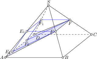 <math> \begin{tikzpicture}[>=latex, scale=2] \coordinate(a) at (0,0); \coordinate(b) at (2,0); \coordinate(c) at (3,0.8); \coordinate(d) at (1,0.8); \coordinate(s) at (1+0.5,0.4+1.414); \coordinate(e) at ($(b)!0.5!(s)$); \coordinate(f) at ($(c)!0.5!(s)$); \coordinate(e0) at ($(a)!0.5!(s)$); \coordinate(f0) at ($(d)!0.5!(s)$); \coordinate(a0) at ($(a)!0.25!(d)$); \coordinate(d0) at ($(d)!0.25!(a)$); \draw[white, fill=blue!10] (a) -- (e) -- (f) -- (d) -- cycle; \draw (a) -- (b) -- (c) -- (s); \draw[dashed] (c) -- (d) -- (a); \draw[dashed] (d) -- (s); \draw (a) -- (s) -- (b); \draw (a) -- (e) -- (f) -- (d); \draw[blue] (e) -- (e0) -- (f0) -- (f); \draw[blue] (e0) -- (a0) -- (e); \draw[blue] (f0) -- (d0) -- (f); \draw[fill=white] (a) circle (0.03); \draw[fill=white] (b) circle (0.03); \draw[fill=white] (c) circle (0.03); \draw[fill=white] (d) circle (0.03); \draw[fill=white] (e) circle (0.03); \draw[fill=white] (f) circle (0.03); \draw[fill=white] (s) circle (0.03); \draw[fill=white] (e0) circle (0.03); \draw[fill=white] (f0) circle (0.03); \draw[fill=white] (a0) circle (0.03); \draw[fill=white] (d0) circle (0.03); \node[left] at (a) {\small $A$}; \node[right] at (b) {\small $B$}; \node[right] at (c) {\small $C$}; \node[below right] at (d) {\small $D$}; \node[left] at (e) {\small $E$}; \node[below] at (f) {\small $F$}; \node[above] at (s) {\small $S$}; \node[left] at (e0) {\small $E_1$}; \node[below] at (f0) {\small $F_1$}; \node[left] at (a0) {\small $E_2$}; \node[below] at (d0) {\small $F_2$}; \end{tikzpicture} </math>