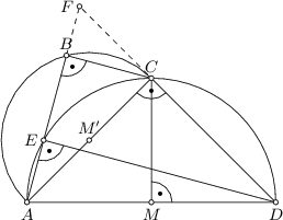 "<math> \begin{tikzpicture}[>=latex, scale=1.2] \coordinate(m) at (0,0); \coordinate(a) at (-2,0); \coordinate(d) at (2,0); \coordinate(c) at (0,2); \coordinate(m2) at ($(a)!0.5!(c)$); \coordinate(b) at ([xshift=-1cm, yshift=1cm] 105:1.414); \coordinate(e) at ($(a)!(d)!(b)$); \coordinate (f) at (intersection of a--b and c--d); \draw (a) -- (d) -- (c) -- cycle; \draw (m) -- (c); \draw (d) -- (e); \draw (0:2) arc (0:180:2); \draw (a) -- (b) -- (c); \draw[dashed] (b) -- (f) -- (c); \draw ([xshift=-1cm, yshift=1cm] 45:1.414) arc (45:225:1.414); \draw[fill=white] (a) circle (0.04); \draw[fill=white] (b) circle (0.04); \draw[fill=white] (c) circle (0.04); \draw[fill=white] (d) circle (0.04); \draw[fill=white] (m) circle (0.04); \draw[fill=white] (m2) circle (0.04); \draw[fill=white] (e) circle (0.04); \draw[fill=white] (f) circle (0.04); \node[below] at (a) {\small $A$}; \node[above] at (b) {\small $B$}; \node[above] at (c) {\small $C$}; \node[below] at (d) {\small $D$}; \node[left] at (e) {\small $E$}; \node[left] at (f) {\small $F$}; \node[below] at (m) {\small $M$}; \node[above] at (m2) {\small $M""$}; \draw pic [draw, angle radius=4mm, ""\tiny $\bullet$"", ] {angle =d--m--c}; \draw pic [draw, angle radius=4mm, ""\tiny $\bullet$"", ] {angle =a--c--d}; \draw pic [draw, angle radius=4mm, ""\tiny $\bullet$"", ] {angle =a--e--d}; \draw pic [draw, angle radius=4mm, ""\tiny $\bullet$"", ] {angle =a--b--c}; \end{tikzpicture} </math>"
