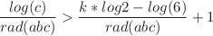 <math>\displaystyle \frac{log(c)}{rad(abc)} > \frac{k*log{2}-log(6)}{rad(abc)} +1</math>