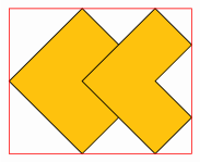 <math> \begin{tikzpicture}[background rectangle/.style={draw=none, fill=black!1}, show background rectangle, ] \begin{scope}[local bounding box=figure, every path/.style={fill=yellow!50!orange, rotate=-45}, ] \draw[] (0,0) rectangle (2,2); \draw[] (1,1) -- (3,1) -- (3,2) -- (2,2) -- (2,3) -- (1,3) --cycle; \end{scope}  \draw[red]  (figure.south west) rectangle (figure.north east)  ; \end{tikzpicture} </math>