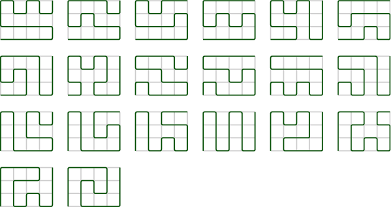 <math>\begin{tikzpicture}[line width=0.2ex,scale=0.4] \draw[lightgray] (0,0) grid (4,3); \draw[rounded corners=0.3ex,black!70!green] (0,0) to (1,0) to (2,0) to (3,0) to (4,0) to (4,1) to (3,1) to (2,1) to (1,1) to (0,1) to (0,2) to (0,3) to (1,3) to (1,2) to (2,2) to (2,3) to (3,3) to (3,2) to (4,2) to (4,3); \end{tikzpicture}\hspace{3ex}\begin{tikzpicture}[line width=0.2ex,scale=0.4] \draw[lightgray] (0,0) grid (4,3); \draw[rounded corners=0.3ex,black!70!green] (0,0) to (1,0) to (2,0) to (3,0) to (4,0) to (4,1) to (3,1) to (2,1) to (2,2) to (1,2) to (1,1) to (0,1) to (0,2) to (0,3) to (1,3) to (2,3) to (3,3) to (3,2) to (4,2) to (4,3); \end{tikzpicture}\hspace{3ex}\begin{tikzpicture}[line width=0.2ex,scale=0.4] \draw[lightgray] (0,0) grid (4,3); \draw[rounded corners=0.3ex,black!70!green] (0,0) to (1,0) to (2,0) to (3,0) to (4,0) to (4,1) to (4,2) to (3,2) to (3,1) to (2,1) to (1,1) to (0,1) to (0,2) to (0,3) to (1,3) to (1,2) to (2,2) to (2,3) to (3,3) to (4,3); \end{tikzpicture}\hspace{3ex}\begin{tikzpicture}[line width=0.2ex,scale=0.4] \draw[lightgray] (0,0) grid (4,3); \draw[rounded corners=0.3ex,black!70!green] (0,0) to (1,0) to (2,0) to (3,0) to (4,0) to (4,1) to (4,2) to (3,2) to (3,1) to (2,1) to (2,2) to (1,2) to (1,1) to (0,1) to (0,2) to (0,3) to (1,3) to (2,3) to (3,3) to (4,3); \end{tikzpicture}\hspace{3ex}\begin{tikzpicture}[line width=0.2ex,scale=0.4] \draw[lightgray] (0,0) grid (4,3); \draw[rounded corners=0.3ex,black!70!green] (0,0) to (1,0) to (2,0) to (2,1) to (1,1) to (0,1) to (0,2) to (0,3) to (1,3) to (1,2) to (2,2) to (2,3) to (3,3) to (3,2) to (3,1) to (3,0) to (4,0) to (4,1) to (4,2) to (4,3); \end{tikzpicture}\hspace{3ex}\begin{tikzpicture}[line width=0.2ex,scale=0.4] \draw[lightgray] (0,0) grid (4,3); \draw[rounded corners=0.3ex,black!70!green] (0,0) to (1,0) to (2,0) to (2,1) to (3,1) to (3,0) to (4,0) to (4,1) to (4,2) to (3,2) to (2,2) to (1,2) to (1,1) to (0,1) to (0,2) to (0,3) to (1,3) to (2,3) to (3,3) to (4,3); \end{tikzpicture} \vspace{3ex}  \begin{tikzpicture}[line width=0.2ex,scale=0.4] \draw[lightgray] (0,0) grid (4,3); \draw[rounded corners=0.3ex,black!70!green] (0,0) to (1,0) to (2,0) to (2,1) to (2,2) to (1,2) to (1,1) to (0,1) to (0,2) to (0,3) to (1,3) to (2,3) to (3,3) to (3,2) to (3,1) to (3,0) to (4,0) to (4,1) to (4,2) to (4,3); \end{tikzpicture}\hspace{3ex}\begin{tikzpicture}[line width=0.2ex,scale=0.4] \draw[lightgray] (0,0) grid (4,3); \draw[rounded corners=0.3ex,black!70!green] (0,0) to (1,0) to (1,1) to (0,1) to (0,2) to (0,3) to (1,3) to (1,2) to (2,2) to (2,3) to (3,3) to (3,2) to (3,1) to (2,1) to (2,0) to (3,0) to (4,0) to (4,1) to (4,2) to (4,3); \end{tikzpicture}\hspace{3ex}\begin{tikzpicture}[line width=0.2ex,scale=0.4] \draw[lightgray] (0,0) grid (4,3); \draw[rounded corners=0.3ex,black!70!green] (0,0) to (0,1) to (1,1) to (1,0) to (2,0) to (3,0) to (4,0) to (4,1) to (3,1) to (2,1) to (2,2) to (1,2) to (0,2) to (0,3) to (1,3) to (2,3) to (3,3) to (3,2) to (4,2) to (4,3); \end{tikzpicture}\hspace{3ex}\begin{tikzpicture}[line width=0.2ex,scale=0.4] \draw[lightgray] (0,0) grid (4,3); \draw[rounded corners=0.3ex,black!70!green] (0,0) to (0,1) to (1,1) to (1,0) to (2,0) to (3,0) to (4,0) to (4,1) to (4,2) to (3,2) to (3,1) to (2,1) to (2,2) to (1,2) to (0,2) to (0,3) to (1,3) to (2,3) to (3,3) to (4,3); \end{tikzpicture}\hspace{3ex}\begin{tikzpicture}[line width=0.2ex,scale=0.4] \draw[lightgray] (0,0) grid (4,3); \draw[rounded corners=0.3ex,black!70!green] (0,0) to (0,1) to (1,1) to (1,0) to (2,0) to (2,1) to (3,1) to (3,0) to (4,0) to (4,1) to (4,2) to (3,2) to (2,2) to (1,2) to (0,2) to (0,3) to (1,3) to (2,3) to (3,3) to (4,3); \end{tikzpicture}\hspace{3ex}\begin{tikzpicture}[line width=0.2ex,scale=0.4] \draw[lightgray] (0,0) grid (4,3); \draw[rounded corners=0.3ex,black!70!green] (0,0) to (0,1) to (1,1) to (1,0) to (2,0) to (2,1) to (2,2) to (1,2) to (0,2) to (0,3) to (1,3) to (2,3) to (3,3) to (3,2) to (3,1) to (3,0) to (4,0) to (4,1) to (4,2) to (4,3); \end{tikzpicture} \vspace{3ex}  \begin{tikzpicture}[line width=0.2ex,scale=0.4] \draw[lightgray] (0,0) grid (4,3); \draw[rounded corners=0.3ex,black!70!green] (0,0) to (0,1) to (0,2) to (0,3) to (1,3) to (1,2) to (1,1) to (1,0) to (2,0) to (3,0) to (4,0) to (4,1) to (3,1) to (2,1) to (2,2) to (2,3) to (3,3) to (3,2) to (4,2) to (4,3); \end{tikzpicture}\hspace{3ex}\begin{tikzpicture}[line width=0.2ex,scale=0.4] \draw[lightgray] (0,0) grid (4,3); \draw[rounded corners=0.3ex,black!70!green] (0,0) to (0,1) to (0,2) to (0,3) to (1,3) to (1,2) to (1,1) to (1,0) to (2,0) to (3,0) to (4,0) to (4,1) to (4,2) to (3,2) to (3,1) to (2,1) to (2,2) to (2,3) to (3,3) to (4,3); \end{tikzpicture}\hspace{3ex}\begin{tikzpicture}[line width=0.2ex,scale=0.4] \draw[lightgray] (0,0) grid (4,3); \draw[rounded corners=0.3ex,black!70!green] (0,0) to (0,1) to (0,2) to (0,3) to (1,3) to (1,2) to (1,1) to (1,0) to (2,0) to (2,1) to (3,1) to (3,0) to (4,0) to (4,1) to (4,2) to (3,2) to (2,2) to (2,3) to (3,3) to (4,3); \end{tikzpicture}\hspace{3ex}\begin{tikzpicture}[line width=0.2ex,scale=0.4] \draw[lightgray] (0,0) grid (4,3); \draw[rounded corners=0.3ex,black!70!green] (0,0) to (0,1) to (0,2) to (0,3) to (1,3) to (1,2) to (1,1) to (1,0) to (2,0) to (2,1) to (2,2) to (2,3) to (3,3) to (3,2) to (3,1) to (3,0) to (4,0) to (4,1) to (4,2) to (4,3); \end{tikzpicture}\hspace{3ex}\begin{tikzpicture}[line width=0.2ex,scale=0.4] \draw[lightgray] (0,0) grid (4,3); \draw[rounded corners=0.3ex,black!70!green] (0,0) to (0,1) to (0,2) to (0,3) to (1,3) to (1,2) to (2,2) to (2,3) to (3,3) to (3,2) to (3,1) to (2,1) to (1,1) to (1,0) to (2,0) to (3,0) to (4,0) to (4,1) to (4,2) to (4,3); \end{tikzpicture}\hspace{3ex}\begin{tikzpicture}[line width=0.2ex,scale=0.4] \draw[lightgray] (0,0) grid (4,3); \draw[rounded corners=0.3ex,black!70!green] (0,0) to (0,1) to (0,2) to (0,3) to (1,3) to (2,3) to (2,2) to (1,2) to (1,1) to (1,0) to (2,0) to (2,1) to (3,1) to (3,0) to (4,0) to (4,1) to (4,2) to (3,2) to (3,3) to (4,3); \end{tikzpicture} \vspace{3ex}  \begin{tikzpicture}[line width=0.2ex,scale=0.4] \draw[lightgray] (0,0) grid (4,3); \draw[rounded corners=0.3ex,black!70!green] (0,0) to (0,1) to (0,2) to (0,3) to (1,3) to (2,3) to (3,3) to (3,2) to (2,2) to (1,2) to (1,1) to (1,0) to (2,0) to (2,1) to (3,1) to (3,0) to (4,0) to (4,1) to (4,2) to (4,3); \end{tikzpicture}\hspace{3ex}\begin{tikzpicture}[line width=0.2ex,scale=0.4] \draw[lightgray] (0,0) grid (4,3); \draw[rounded corners=0.3ex,black!70!green] (0,0) to (0,1) to (0,2) to (0,3) to (1,3) to (2,3) to (3,3) to (3,2) to (3,1) to (2,1) to (2,2) to (1,2) to (1,1) to (1,0) to (2,0) to (3,0) to (4,0) to (4,1) to (4,2) to (4,3); \end{tikzpicture}</math>