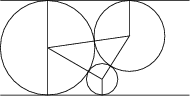 <math>  \begin{tikzpicture} \draw (-1,0) -- (3,0); \draw (0,1) circle (1); \draw (1.154,0.333) circle (0.333); \draw (1.732,1.25) circle (0.75); \draw (-1,2) -- (3,2); \draw (0,1)--(1.154,0.333)--(1.732,1.25)--(0,1) (0,0)--(0,2) (1.154,0)--(1.154,0.333) (1.732,1.25)--(1.732,2); \end{tikzpicture} </math>
