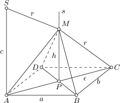 <math> \begin{tikzpicture}[>=latex, font=\small, scale=1.5] \coordinate(a) at (0,0); \coordinate(b) at (2,0); \coordinate(c) at (3,0.8); \coordinate(d) at (1,0.8); \coordinate(p) at ($(a)!0.5!(c)$); \coordinate(m) at ($(p)+(0,1.5)$); \coordinate(s) at ($(a)+(0,2.5)$); \draw (a) -- (b) -- (c); \draw[dashed] (c) -- (d) -- (a); \draw (a) -- (m) -- (c); \draw (m) -- (b) -- (d); \draw (a) -- (c); \draw (p) -- ($(m)+(0,0.5)$); \draw[dashed] (m) -- (d); \draw (m) -- (s) -- (a); \foreach \P in {a,b,c,d,p,m,s} \draw[fill=white] (\P) circle (0.04); \node[below] at (a) {$A$}; \node[below] at (b) {$B$}; \node[right] at (c) {$C$}; \node[left] at (d) {$D$}; \node[below] at (p) {$P$}; \node[above right] at (m) {$M$}; \node[above] at (s) {$S$}; \node[below] at ($(a)!0.5!(b)$) {$a$}; \node[right] at ($(c)!0.5!(b)$) {$b$}; \node[left] at ($(p)!0.5!(m)$) {$h$}; \node[below] at ($(p)!0.5!(c)$) {$\epsilon$}; \node[above] at ($(s)!0.5!(m)$) {$r$}; \node[above] at ($(c)!0.5!(m)$) {$r$}; \node[left] at ($(a)!0.5!(s)$) {$c$}; \node[right] at ($(m)+(0,0.5)$) {$s$}; \end{tikzpicture} </math>