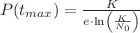 <math>P(t_{max})=\frac{K}{e\cdot \ln\left ( \frac{K}{N_{0}} \right ) }</math>